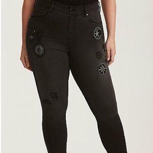 Torrid Blk Stretch Celestial Gothic Jeans 14T $78